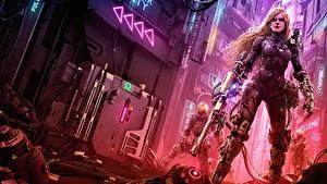 Fotos Krieger Gewehre Blond Mädchen Cyborgs Cyberpunk junge Frauen Mädchens