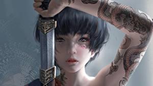 Bilder Krieger Schwert Tätowierung Hand Starren Gesicht Brünette Fantasy Mädchens