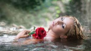 Hintergrundbilder Wasser Rose Schminke junge Frauen Blumen