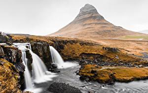 Bilder Wasserfall Berg Island Kirkjufell