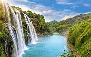 Fotos Wasserfall Landschaftsfotografie Flusse Felsen