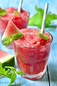Fotos Wassermelonen Saft Trinkglas Lebensmittel