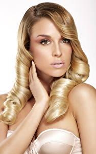Fotos Weißer hintergrund Blondine Blick Hand Haar
