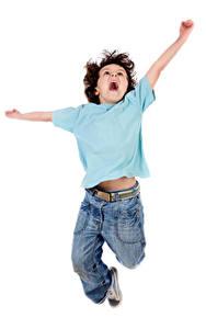 Pictures White background Boys Jump Hands Happy Children
