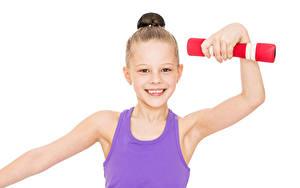 Fotos Weißer hintergrund Kleine Mädchen Starren Lächeln Hand Hantel Kinder