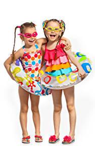 Wallpaper White background Little girls 2 Smile Glasses Legs child