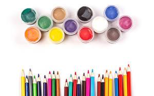 Bilder Weißer hintergrund Bleistift Bunte Anstrichmittel