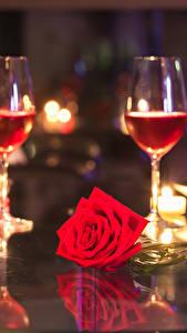 Bilder Wein Kerzen Rosen Weinglas Flasche Rot Lebensmittel