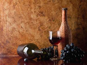 Fondos de Pantalla Vino Uvas Botella Vaso de vino