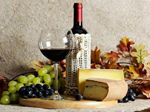 Bilder Wein Weintraube Käse Flasche Weinglas