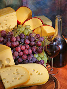 Photo Wine Grapes Cheese Bottle Stemware