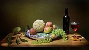Hintergrundbilder Wein Weintraube Pfirsiche Birnen Melone Stillleben Flasche Weinglas das Essen