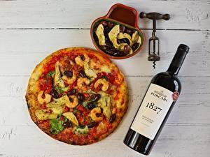 Fotos Wein Pizza Caridea Oliven Bretter Flasche das Essen