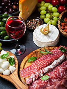 Pictures Wine Sausage Cheese Stemware Sliced food