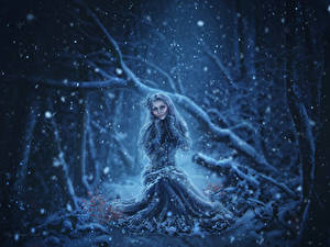 Wallpapers Winter Dress Snowflakes Fantasy Girls
