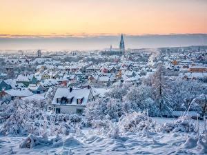 Hintergrundbilder Winter Deutschland Gebäude Schnee Von oben Regensburg Städte