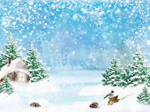 Bilder Winter Haus Vogel Schnee Schneeflocken Fichten Zapfen Vorlage Grußkarte