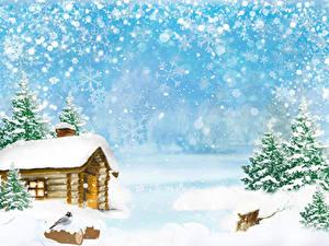Fotos Winter Gebäude Vogel Schnee Fichten Schneeflocken Vorlage Grußkarte Natur
