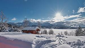 Fotos Winter Haus Norwegen Schnee Sonne  Natur
