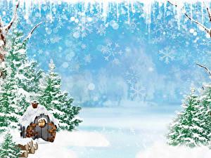 Fotos Winter Gebäude Schnee Fichten Schneeflocken Vorlage Grußkarte Natur