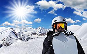 Wallpapers Winter Man Snowboarding Mountains Snow Glasses Helmet Rays of light Sport
