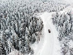 Bilder Winter Straße Wald Schnee Von oben Natur