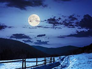 Fotos Winter Himmel Gebirge Schnee Nacht Mond Wolke