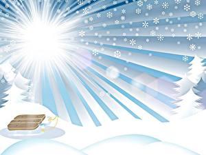 Fotos Winter Vektorgrafik Schnee Schlitten Sonne Lichtstrahl Schneeflocken Natur