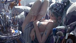 Wallpapers Stockings Legs Beautiful Hands Esting Wlop Fantasy Girls