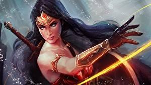 Bilder Wonder Woman Held Gezeichnet Krieger Hand Brünette Fantasy