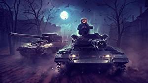 Hintergrundbilder Panzer WOT Halloween Nacht Mond by Sergey Avtushenko Spiele