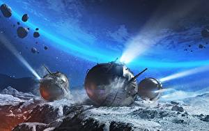 Wallpaper WOT Tanks Surface of planets Spherical Tank IS-360 vdeo game Space Fantasy
