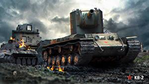 Fotos World of Tanks Panzer Russisches KV-2 Spiele
