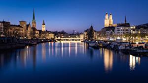 Fotos Zürich Schweiz Gebäude Fluss Brücke Abend Bootssteg Binnenschiff Städte