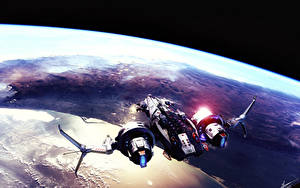 Image Star Conflict Ship Surface of planets Fan ART Games Fantasy Space