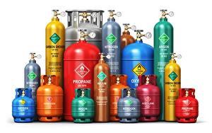 Hintergrundbilder Weißer hintergrund Bunte different gases, gas cylinder 3D-Grafik