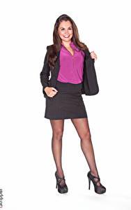 Hintergrundbilder iStripper Weißer hintergrund Braune Haare Lächeln Anzug Rock Bein Stöckelschuh Strumpfhose Allie Haze junge Frauen