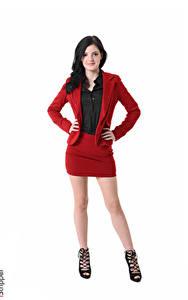 Fotos iStripper Weißer hintergrund Brünette Anzug Hand Pose Bein Stöckelschuh Amber Nevada junge frau
