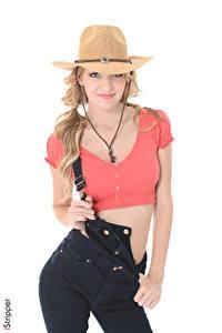 Hintergrundbilder iStripper Belle Claire Weißer hintergrund Blond Mädchen Der Hut Starren Lächeln Hand junge Frauen