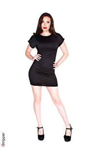 Hintergrundbilder iStripper Casey Calver Weißer hintergrund Brünette Hand Kleid Bein High Heels