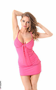 Bilder iStripper Weißer hintergrund Braunhaarige Pose Blick Hand Kleid Dekolletee Dana Harem Angie Line Mädchens
