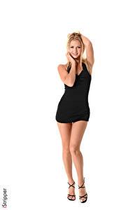 Fotos iStripper Weißer hintergrund Blondine Lächeln Pose Hand Kleid Bein Stöckelschuh Kristina Mädchens