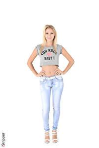 Bilder iStripper Weißer hintergrund Blondine T-Shirt Hand Jeans Bein Kristina Mädchens