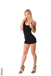 Fotos iStripper Weißer hintergrund Blondine Lächeln Hand Kleid Bein Stöckelschuh Kristina junge frau