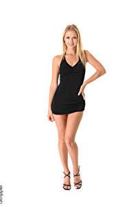 Bilder iStripper Weißer hintergrund Blondine Lächeln Kleid Hand Bein Stöckelschuh Kristina