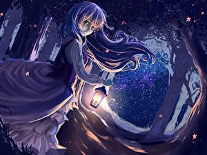 Fonds d'écran Les robes Réverbère Nuit ryouya Anime Filles