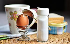 Photo Breakfast Egg Spoon Salt soft-boiled Food