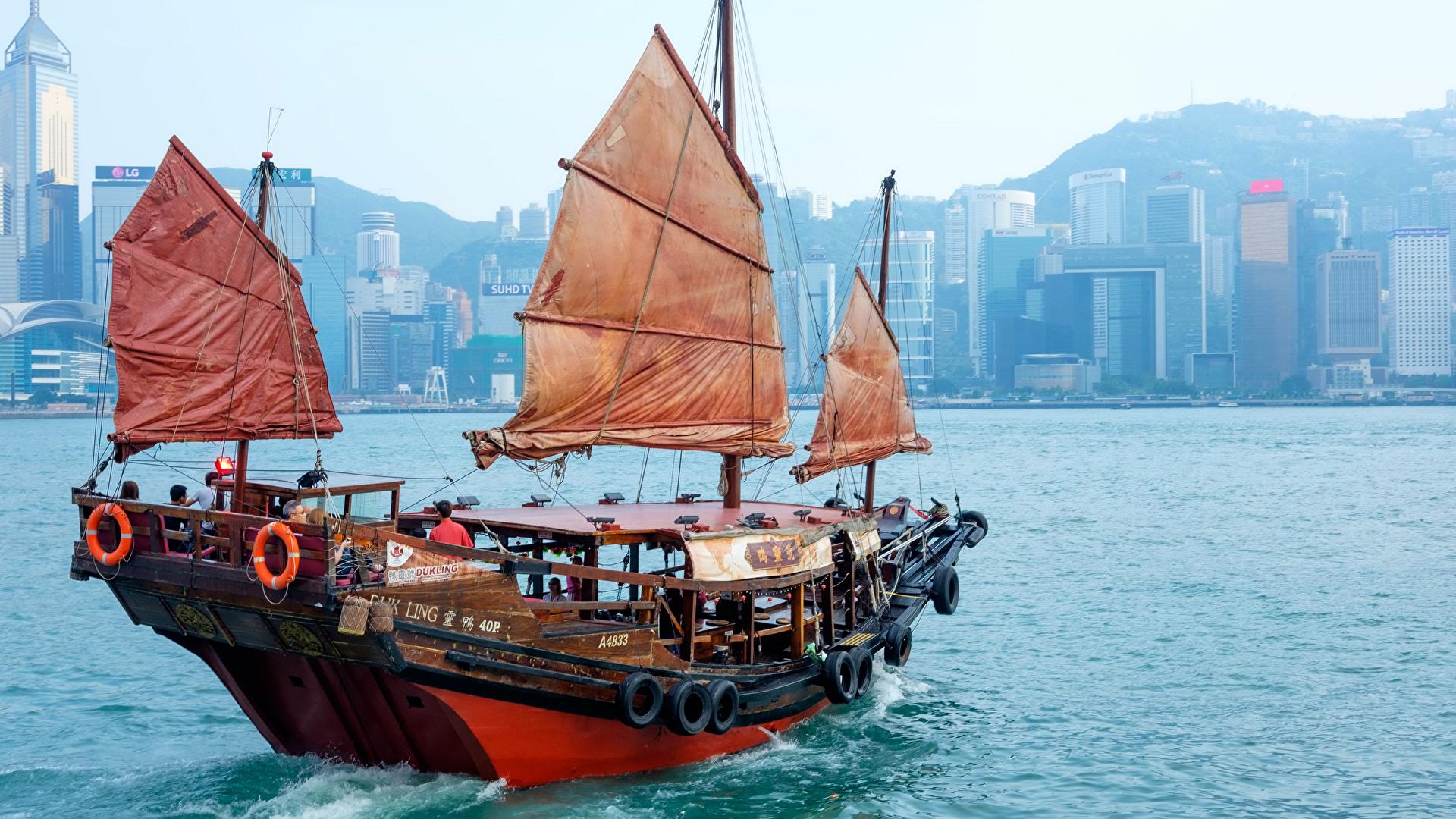 Fonds D Ecran 1920x1080 Hong Kong Mer A Voile Chine Bateau Fluvial Villes Telecharger Photo