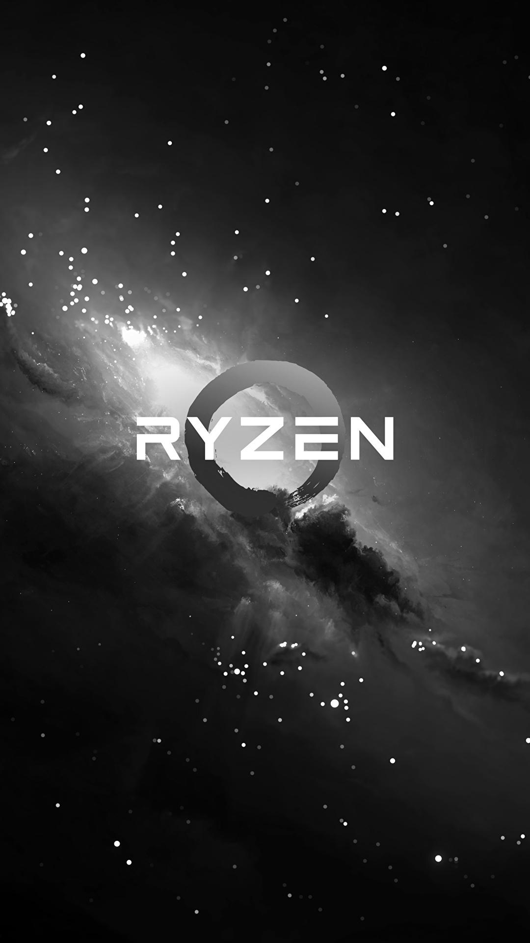 壁紙 1080x19 Amd ロゴエンブレム Ryzen 白黒 コンピューター ダウンロード 写真
