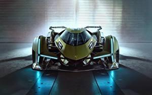 Hintergrundbilder Lamborghini Vorne Grün Lambo, V12, Vision Gran Turismo, 2019 auto